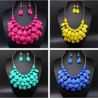 Wholesale Teardrop Acrylic Diamonds - 2015 Fashion Teardrop necklaces Water Drop Bib pendants multi-color bubble necklace with earring jewelry for women free ship