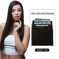 Wholesale Skin Weft 24inch - 16-24inch Tape Hair Extensions 20pcs Lot 100% Brazilian Virgin Hair Straight Human Hair Tape in Skin Weft Hair Color #1B