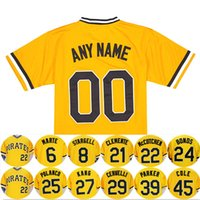 Pullover da uomo color giallo pullover Pittsburgh Baseball Jersey 21 Roberto Clemente 22 Andrew McCutchen 24 da barry bond 25 Gregory Polanco 6 Marte