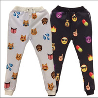 Wholesale New Style Women Sportswear - New Emoji style print pants funny cartoon sweatpants black & white thicken long joggers trousers sportswear female clothes 2015 new sale