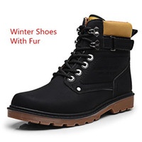 Wholesale Quality Tooling - black Fur XiaGuoCai Autumn Winter Men Tooling Boots High Top Lace Up Army Ankle Boots High Quality Male Martin Boots Men's Footwear