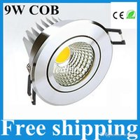 Wholesale Dimmable Cob Led Ceiling Light - 9w cob led ceiling light dimmable led downlight recessed spot light lamp 110-240v silver shell 120 angle + led driver 3 years warranty UL CE