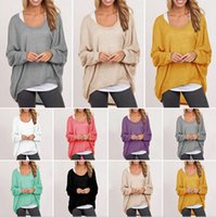 Sexy Womens Casual Loose Strickwaren Hi-Low Unregelmäßiges Hem Punk T-Shirt Oversize Batwing Langarm Baggy Pullover Pullover Tops