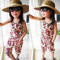 Wholesale Girls Trousers Pants Floral - baby clothes Girl's Floral Jumpsuit Suspender Trousers Pant 100% Cotton Flower Print Kids Summer Outfit