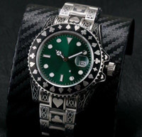 Wholesale Relief Glass - Asia Eta 2831 movement Embossed pattern relief watch green dial Automatic sweep mens sapphire glass Luminous watches rubber strap Watches
