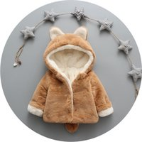 Everweekend Kids Girls Winter Cute Bunny Rabbits Fleece Coats Sweet Baby Woolen с капюшоном Outwears New Coats Clothing