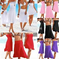 Wholesale strapless bikinis - 1510 2015 Sexy Summer Women's Female Beach Strapless Bikini Swimwear SwimSuits Beachwear Cover Up Dress 5 Colors 4 Sizes