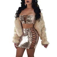 Wholesale two piece sequin set for sale - Group buy Lace up sequins bandage dress Women sexy party sequin hollow out zipper strapless crop tops and mini bodycon skirts two pieces sets suits