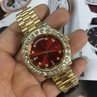 Wholesale Blue Diamond Watch Mens - Luxury Mens Brand Watch Big Diamonds Day-Date Gold Stainless Steel President Automatic Mechanical Diamond Wristwatch Red Men's Watches