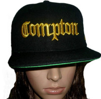 Wholesale Snapback Hats Compton - 2015 COMPTON 3D EMBROIDERED FLAT BILL BLACK SNAPBACK BASEBALL HATs CAPs,Adjustable fashion Discount Cheap and High quality street hat CAP