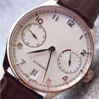 Wholesale Automatic Portuguese Watches - Luxury Mens Mechanical Portuguese Chronograph Watch Black Pilot Men Leather Watches Dive Wristwatch