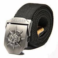 Wholesale Jeans Skull Belts - Wholesale-Black 2015 New Skull Men's 120CM Belts Hip-Hop Pop Canvas Belts For Men Outdoor Sports Jeans Weave Buckle Belt Automatically