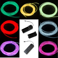 Atacado- 3M Flexível Neon Light Glow EL Wire Corda tubo Cabo Strip LED Neon Lights Shoes Vestuário Carro festa controlador decorativo