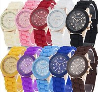Wholesale Gem Time Watch - Geneva jelly children silicone watch lovers to watch fashionable men and Women quartz Adjustable size Time accurately Fashion Watches