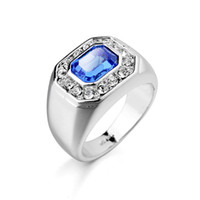 Wholesale Sapphire Ring Sets - 18k White Gold Men Ring Zirconia Diamond Combination Austiran Rhinestone Men Big Size Ring
