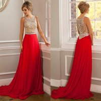 2015 Red Red Sheer Lange Promkleider Mode Crew Illusion Bördeln Chiffon eine Linie Abendkleider Formal Crystal Hot Party Kleid 2015 Frühling