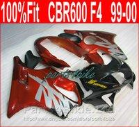 vücut özel cbr toptan satış-Honda özelleştirmek için ücretsiz body kitleri fairings 99 00 CBR 600 F4 Enjeksiyon kırmızı siyah kaporta kiti CBR600 F4 1999 2000 COSH