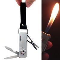 Wholesale Lighters Knives - Multifunction Knife Opener Scissors Candle Flame Butane Gas Cigarette Cigar Lighter