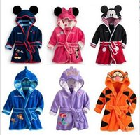 Wholesale Baby Thermal Sleepwear - wholesale kids clothes Mickey Minnie Mermaid Children's Towels Robes baby clothing Pajama Lingerie Sleepwear Bath Gown pjs Nightgown 123