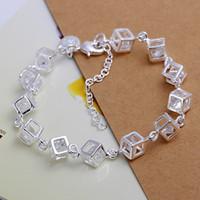 track armband großhandel-Freies Verschiffen mit Spurhaltungszahl Top Silber 925 Armband Checkered Weiß Diamant Armband Silber Schmuck 10pcs / lot billig 1798