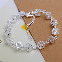 Wholesale with tracking number Top Sale Silver Bracelet Checkered White Diamond Bracelet Silver Jewelry cheap