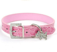 Wholesale Wholesale Croc Pet Collars - Croc Leather Dog Collars Leather Dog Cat Puppy Collar Rhinestone pendant pet