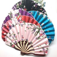 Wholesale paper chinese folding fans - Chinese Handmade Round Folding Hand Fan 20 pieces a lot Gift Wedding Halloween Dancing Party Free Shipping