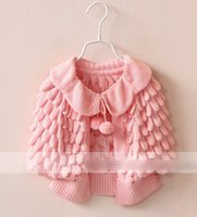 Wholesale knit girls lace cardigan - 4 Colors Solid Cotton Knitting Lacing Skein Batwing Sleeve Kid Girls Cardigan Fashion Soft Casual N1883