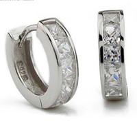 i̇sviçre elmas saplama toptan satış-3ct İsviçre Elmas Küpe Yeni Takı 925 Ayar Gümüş Küpe Hoop Kulak Manşet Klipler Erkek Küpe Damızlık Düğün için Parti