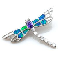 Wholesale Cz Blue Pendant - turtle blue opal jewelry with cz stone;mexican opal pendant dragonfly pendant 925 stamped