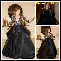 Wholesale Nice Celebrity White Dresses - New 2015 Celebrity Dress Myriam Fares Sash Ruffles Black Nice Ball Gown V Neck Lace Floor Straight Long Sleeve Evening dresses Lace Gowns