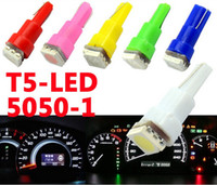 Wholesale Car Lighting T5 Bulbs - 20 X Led T5 Led 5050 LED 1SMD 12V Lights Bulb Lamp 286 Car Wedge Dashboard Gauge Side Tail Signaling Light White Red Blue Green