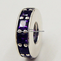 ingrosso perline europee di spacer viola-2015 autunno nuovo 925 Sterling Silver Eternity Charm Bead con Royal Purple Crystal Spacer Adatto europeo Pandora gioielli bracciali collana