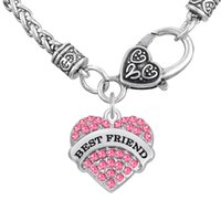 Wholesale Friendship Words - Word BEST FRIEND Pendant Friendship Necklaces Fitness Thick Heart Necklaces Crystal Heart Lobster Clasp Women Jewelry For Party