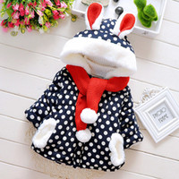 Wholesale winter furry jacket - New Style Children Cotton Coats Scarf With Ball Top Furry Edge Kids Winter Jackets Dots Rabbit-shaped Hooded Coats For Girls Retail CR361