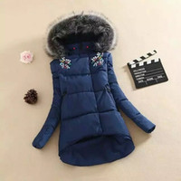Wholesale Casual Faux Fur Hooded Pad - Women Winter Jackets Big Faux Fur Collar Rhinestone Diamond Cotton-Padded Jacket Parka Casual Thick Winter Coat Female Plus Size Outerwear