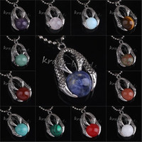 Wholesale Different Stones Necklaces - wholesale 10Pcs Charms Silver Plated Dragon Claw Different Stone Round Beads Stone Pendant Jewelry For Necklace
