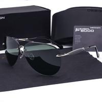 marcas de óculos militares venda por atacado-Designer de marca Polarized Sunglasses men Liga de Metal Condução Óculos de Sol Quadrado Do Vintage oculos de sol Polarizado Militar Eyewears com casos