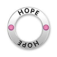 Wholesale Hoop Pendant Necklace - New Arrival 50pcs Vintage Znic Alloy Rhodium Pink Crystal HOPE Message hoop Pendant Charms for Statement Necklace & Pendants