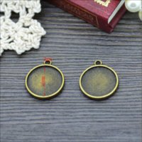 Wholesale Round Cameo Frames - Lots 10PCS 16mm Size Antique Bronze Tone Pendant Frame Cameo Settings Round Charms Findings Inner Size 16x16mm Double Sided