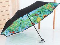 Wholesale Vinyl Coat Black - Wholesale-New creative gift black coating sunny and rainy folding totoro umbrella Vinyl UV blue black color