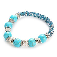 Wholesale Jewelry Findings For Bracelets - Find Me 2017 natural turquoise bracelets for girl statement jewelry Fashion Wholesale shell Double braiding beads Bracelet bangles for women