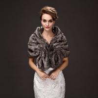 Wholesale coat winter for bride - Jane Vini New Faux Fur Bridal Wraps Brown Wedding Bride Wrap Shawls For Evening Party Dress Women Fur Jackets Wraps Coats 2018