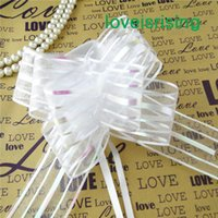 Wholesale Christmas Door Decor Wholesale - 13 Colors U Pick-- 50pcs lot 5cm Large Size Organza Pull Bow Wedding Car Decoration Christmas Favor Ribbons Bows Wedding Bridal Decor