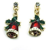 Wholesale Red Hat Charms - New Arrival Fashion Charms Earrings 2 Color Dangle Red Christmas Hat Earrings For Women Jewelry Christmas Decoration