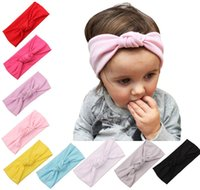 Wholesale Elastic Knit Hair Headbands - Children's hair accessories Children knot hair band Knitted cotton elastic headband for baby babies winter warm hairbands 9color choose free