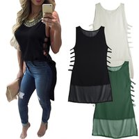 Wholesale Long Vest Tops Women - New Arrivals Ladies Womens Vest Shirt Tank Tops Blouse Chiffon Sleeveless Short In Front Long Sexy Fashion Casual DX240 Free Shipping