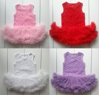 Wholesale Red Lace Teddies - Hot Sell 0-2T Baby Rose Flower Lace Romper Tulle Dress Sleeveless Straps Solid Teddy Suit Set Toddler Girl Clothes One-Piece JumperSuitK4912