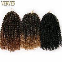 empacar el cabello rizado al por mayor-1 paquete VERVES Trenza rizada 60 g / paquete marrón, rubio, negro, trenzas de ganchillo de pelo sintético Extensiones de cabello trenzado ombre de 12 pulgadas