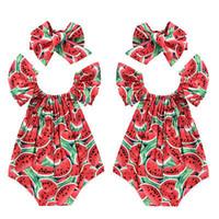 venda las cintas al por mayor-Bebé recién nacido bebés niñas sandía imprimir encaje sin mangas mameluco diadema 2PCS ropa para niños traje mono traje traje de sol